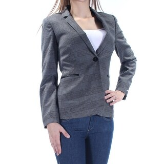 TAHARI $139 Womens 1146 Gray Plaid Blazer Wear To Work Jacket 0 Petites B+B