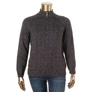 Karen Scott Womens Petites Pullover Sweater Cable Knit Mock Neck - pxl