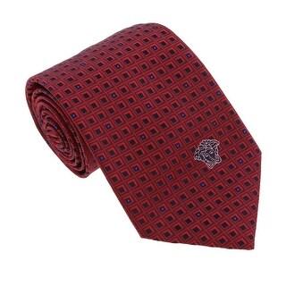 Versace Bordeaux Woven Geometric Grid Tie