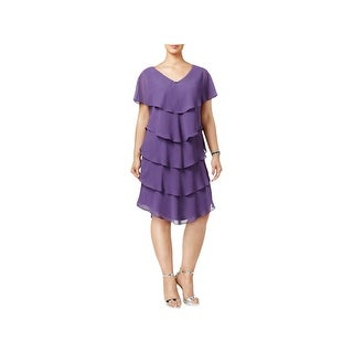SLNY Womens Plus Cocktail Dress Shift Tiered - 14W