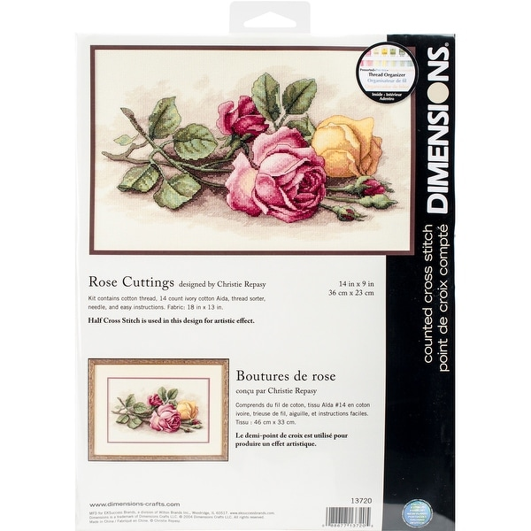 "Rose Cuttings Counted Cross Stitch Kit-14""X9"" 14 Count"