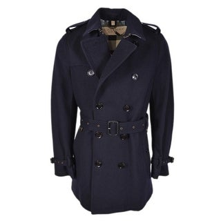 Burberry Brit Men's Blue Wool Britton Nova Check Lined Coat Jacket - L