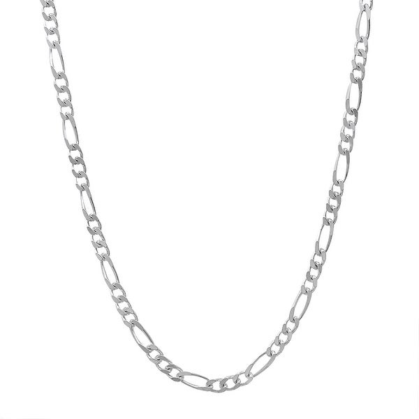 Mcs Jewelry Inc Sterling Silver White 925 Figaro Chain Necklace (2.8mm)