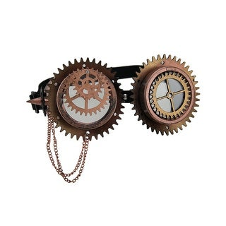 Gears & Spikes Metallic Steampunk Goggles w/Chain