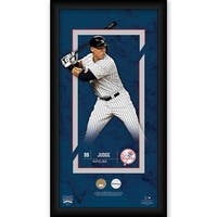 Aaron Judge New York Yankees 10x20 Player Profile  with Game Used Yankee Stadium Dirt and Uniform S