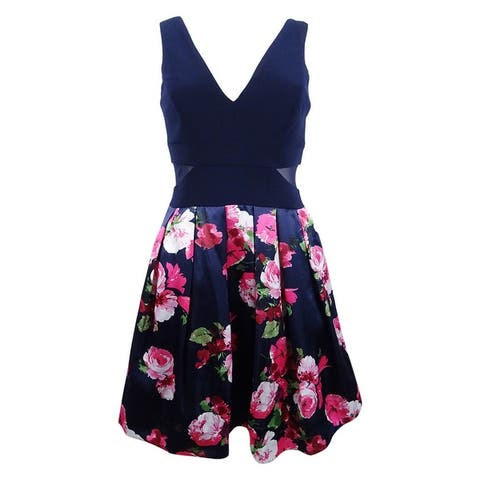 Xscape Women's Solid & Floral-Print Fit & Flare Dress - Navy/Pink
