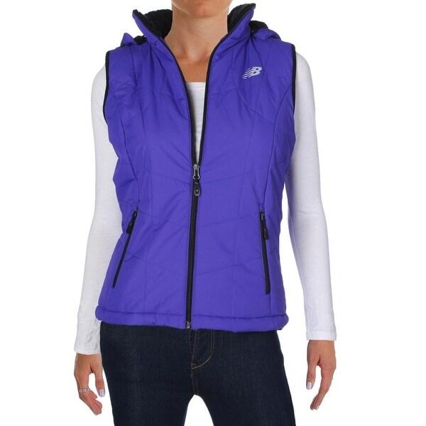 b7d772eb New Balance NEW Blue Womens Size Large L Hooded Puffer Vest Jacket