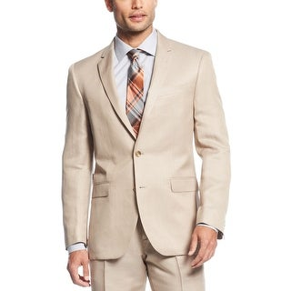 Kenneth Cole New York Tan Linen Blend Two Button Sportcoat 40 Long Slim Fit