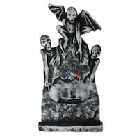 "29"" Gray and Black Lighted Tombstone with Winged Skeletons Halloween Decor - N/A"