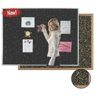 Aarco Products Aluminum Frame Black Rubber Cork Bulletin Board,