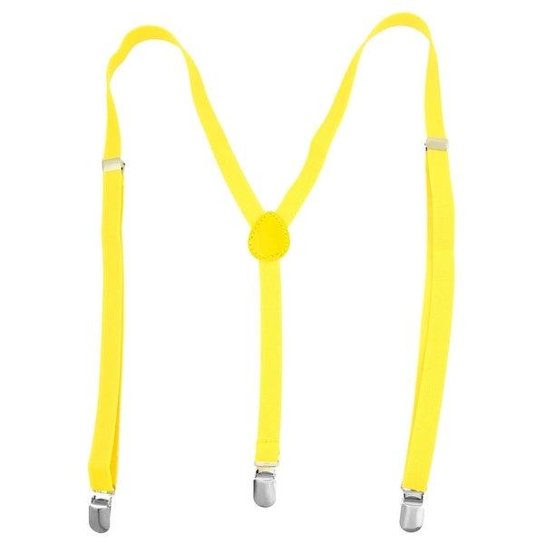 Unique Bargains Woman Adjustable Metal Clamp Elastic Suspenders Braces Yellow