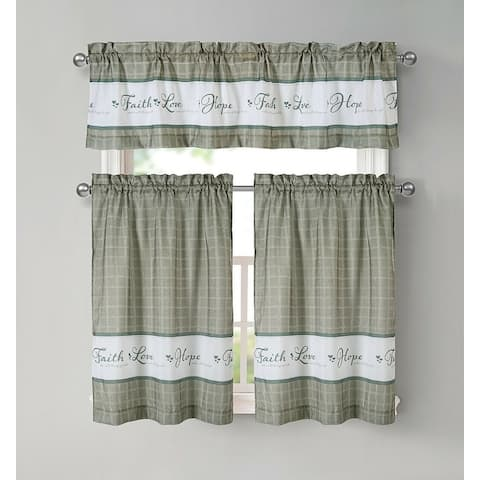 Kate Aurora Country Living Gingham Check Hope Faith Love 3 Pc Cafe Kitchen Curtain Set - 58 in. W x 14 in.