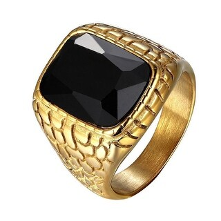 Black Solitaire Mens Ring Nugget Design Gold Tone Over Stainless Steel Hip Hop