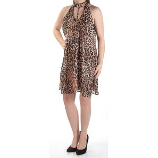 SPEECHLESS Womens New 1153 Blk Brown Animal Print Cut Out Shift Dress M Jrs B+B