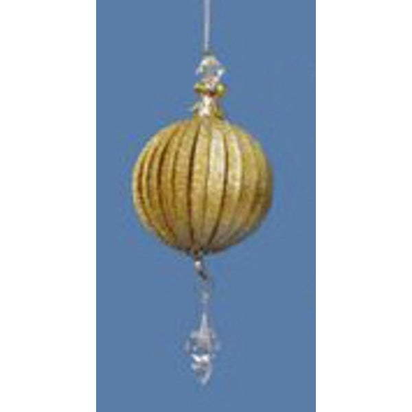 Seasons of Elegance Gold Ball with Faux-Crystal Drop Christmas Ornament
