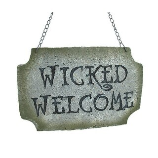 `Wicked Welcome` Stone Look Welcome Sign