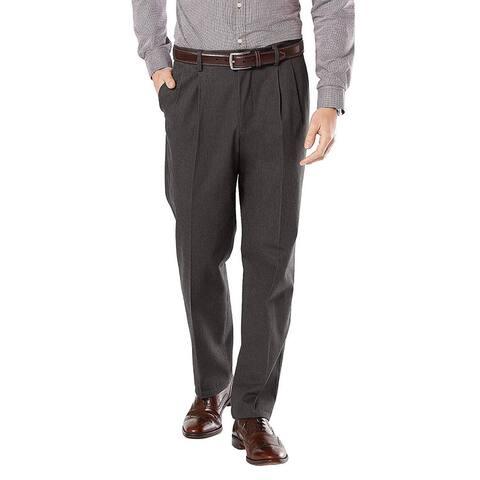 Dockers Mens Signature Classic D3 Khaki Pleated Stretch Pants 34 x 29 Charcoal