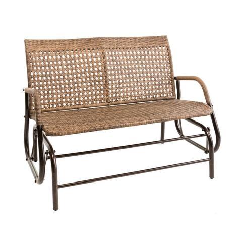 North Garden Outdoor Wicker Love Seat Glider Bench - 49x36x28