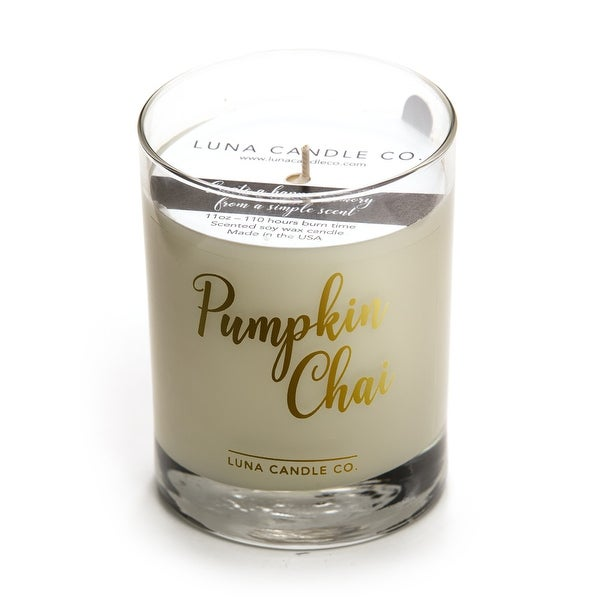 Premium Pumpkin Chai Candle, Natural Soy Wax, Long Clean Burn- 11 Oz.