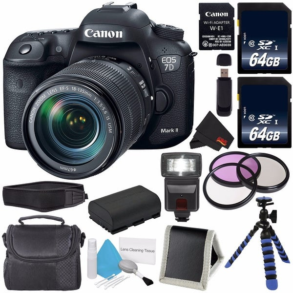 Canon EOS 7D Mark II DSLR Camera with 18-135mm f/3.5-5.6 IS USM Lens & W-E1 Wi-Fi Adapter + LP-E6 Replacement Battery Bundle