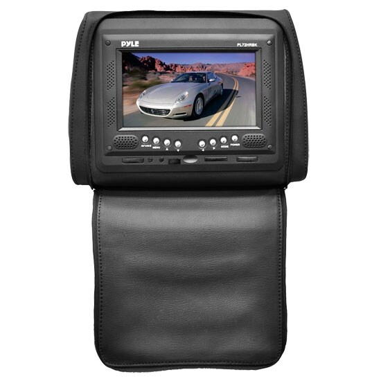 Adjustable Single Headrest w/ Built-In 7'' TFT/LCD Monitor W/IR Transmitter & Cover (Black)