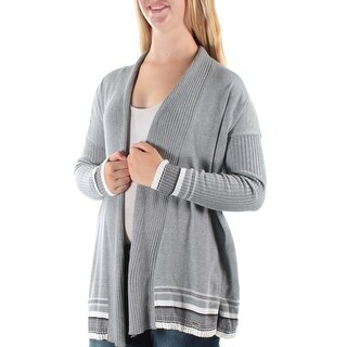 TOMMY HILFIGER $80 Womens New 1184 Gray Striped 3/4 Sleeve Sweater XL B+B