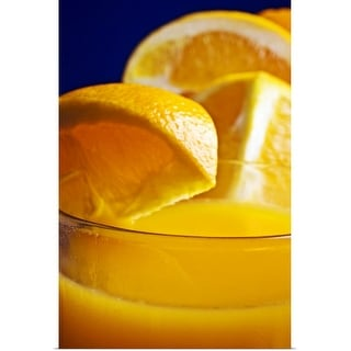 """Close-up of a refreshing glass of orange juice."" Poster Print"