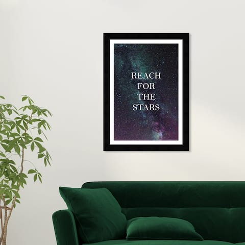 Wynwood Studio 'Reach For The Stars' Typography and Quotes Green Wall Art Framed Print