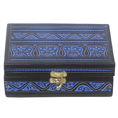 Vintage Art Deco Fong Wooden Handmade Jewelry Box - 6 in. x 4 in. x 3 in.