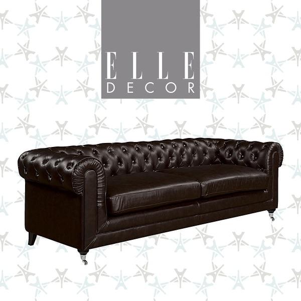 "Elle Decor Amery 91"" Tufted Sofa. Opens flyout."