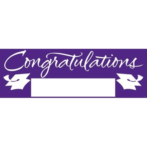 pack of 6 purple and white giant graduation party banners 5 free