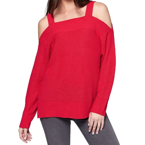 Sanctuary Red Womens Size XL Amelie High-Low Cold-Shoulder Sweater