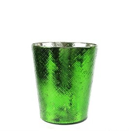 """5.5"""" Decorative Green and Silver Mercury Glass Votive Candle Holder"""