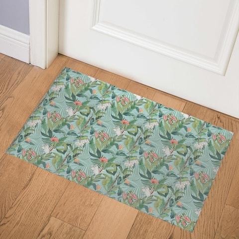 TROPICAL JUNGLE PASTEL BLUE Indoor Floor Mat By Kavka Designs