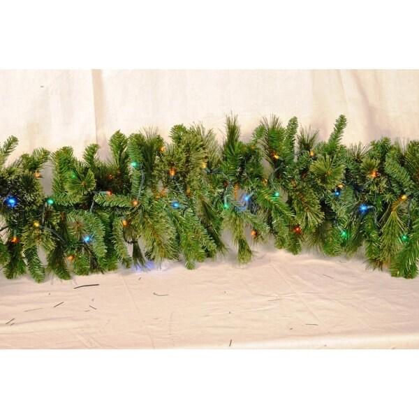 Christmas at Winterland WL-GARBM-09-L5M 9 Foot Pre-Lit Multicolor LED Blended Pine Garland Indoor / Outdoor - N/A