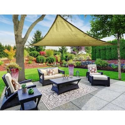 Boen Triangle Sun Shade Sail Canopy Awning UV Block for Outdoor Patio Garden and Backyard - Beige - 16'x16'x16'
