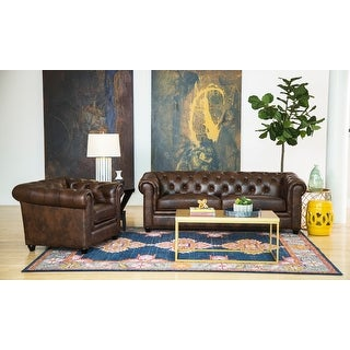 Link to Abbyson Tuscan Top Grain Leather Chesterfield 2 Piece Living Room Set Similar Items in Living Room Furniture