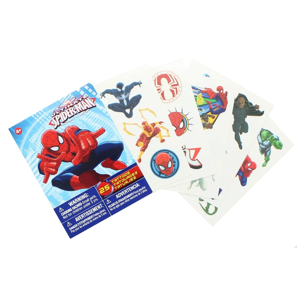 Marvel Ultimate Spider Man Temporary Tattoo Pack 25 Pieces Red Overstock 19515801