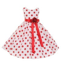 Little Girls Red Polka Dots Sleeveless Special Occasion Flower Girl Dress 2-6