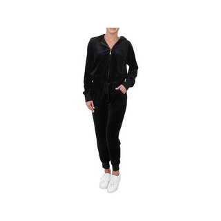 Juicy Couture Black Label Womens Jumpsuit Velour Hooded
