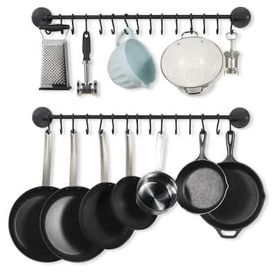 "Wallniture Delux 33"" Iron Pot Rack Set of 2, Cooking Utensil Holder with 30 S Hooks, Black"
