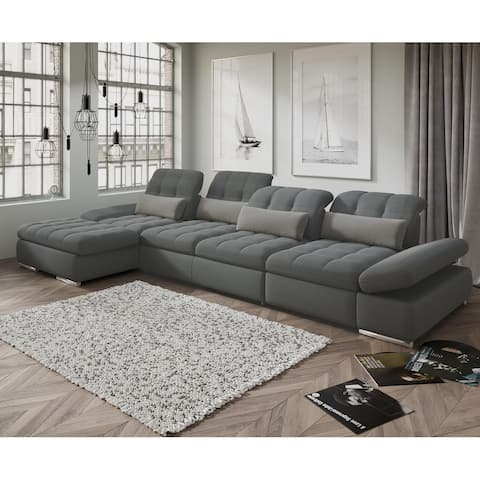 Barcelona 3pc Left Chaise Grey Sectional with Sofabed and storage By Sofacraft