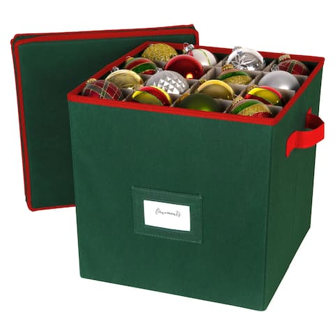 Richards Homewares - Holiday 64 Compartment Cube Ornament Organizer (Green)
