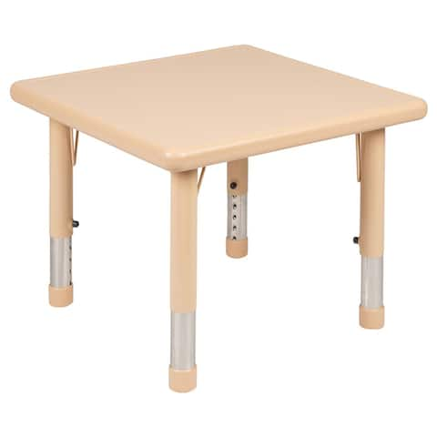 """Offex 24"""" Square Height Adjustable Natural Plastic Activity Table"""
