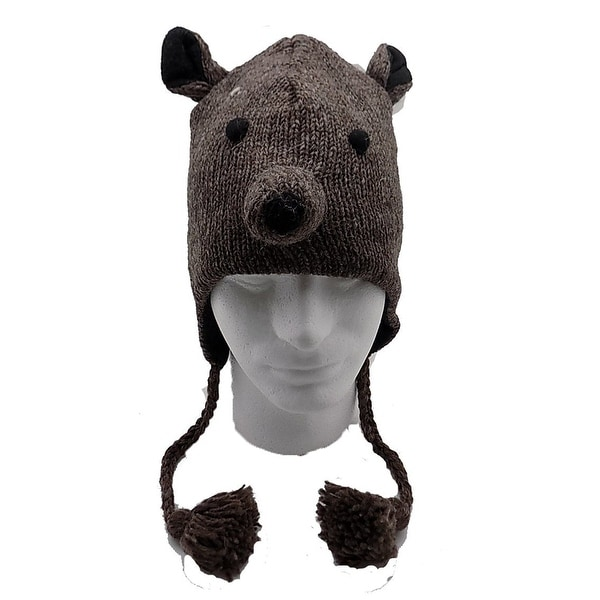 Animal Hat Beanie 100% Wool, Fleece Lined Beanie Ski Cap for kids. - One size