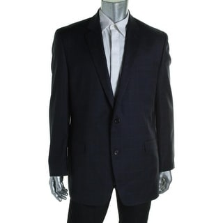 Shaquille O'Neal Mens Wool Window Pane Two-Button Blazer - 50L