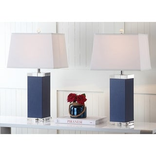 "Safavieh Lighting 27-inch Navy Deco Leather Table Lamp (Set of 2) - 14""x14""x27"""