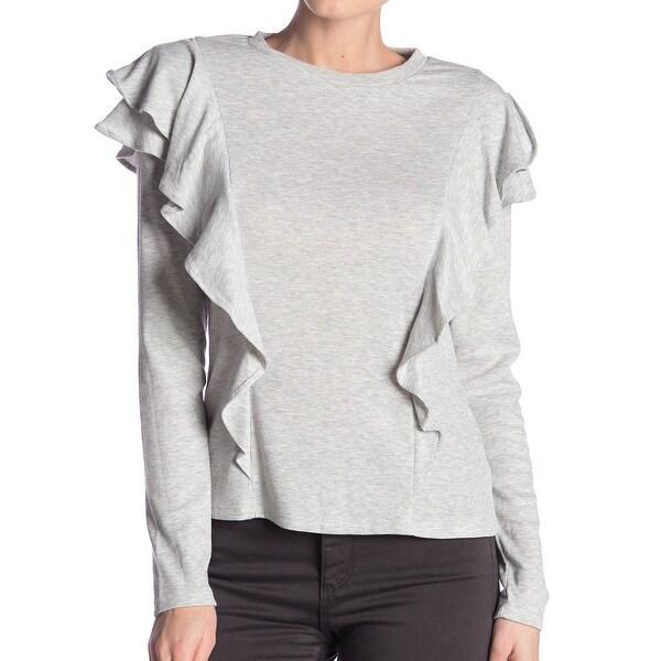 Laundry by Shelli Segal Gray Ruffle Women Medium M Crewneck Sweater