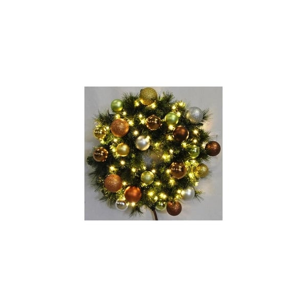 Christmas at Winterland WL-GWSQ-05-WOOD-LWW 5 Foot Pre-Lit Warm White Sequoia Wreath Decorated with Woodland Ornaments Indoor /