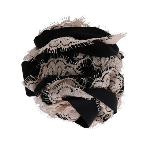 Dolce & Gabbana Black Silk Pink Floral Lace Hair Women's Claw - One Size